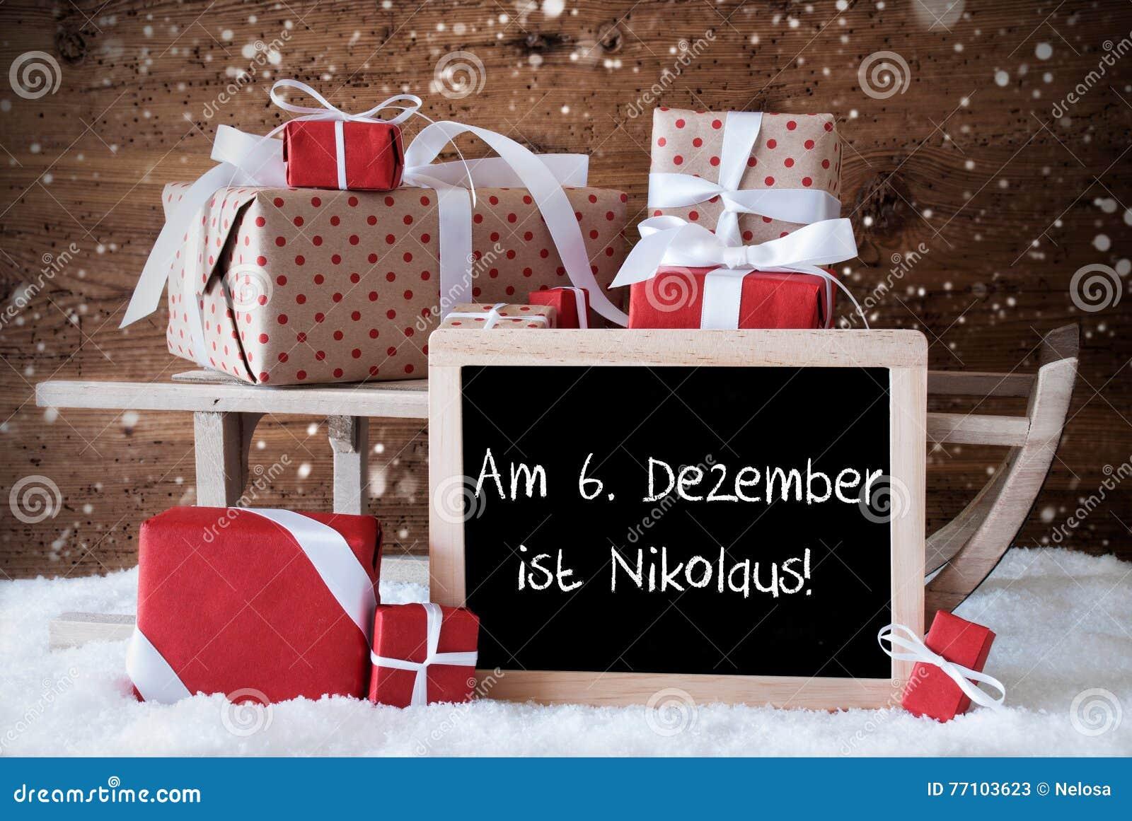 Pferdeschlitten Mit Geschenken Schnee Schneeflocken Nikolaus