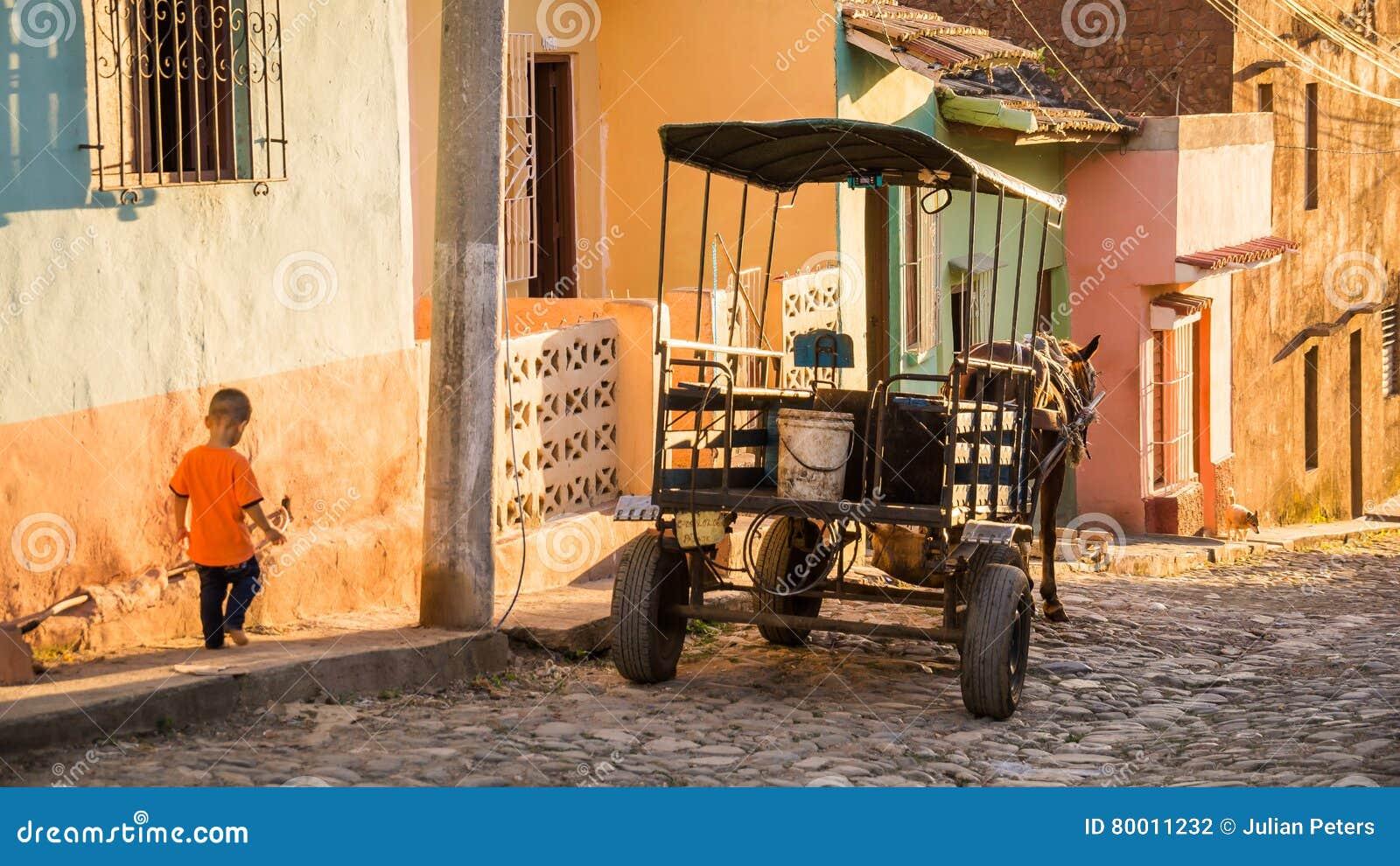 Pferdewagen auf streetside in Trinidad, Kuba bei Sonnenuntergang