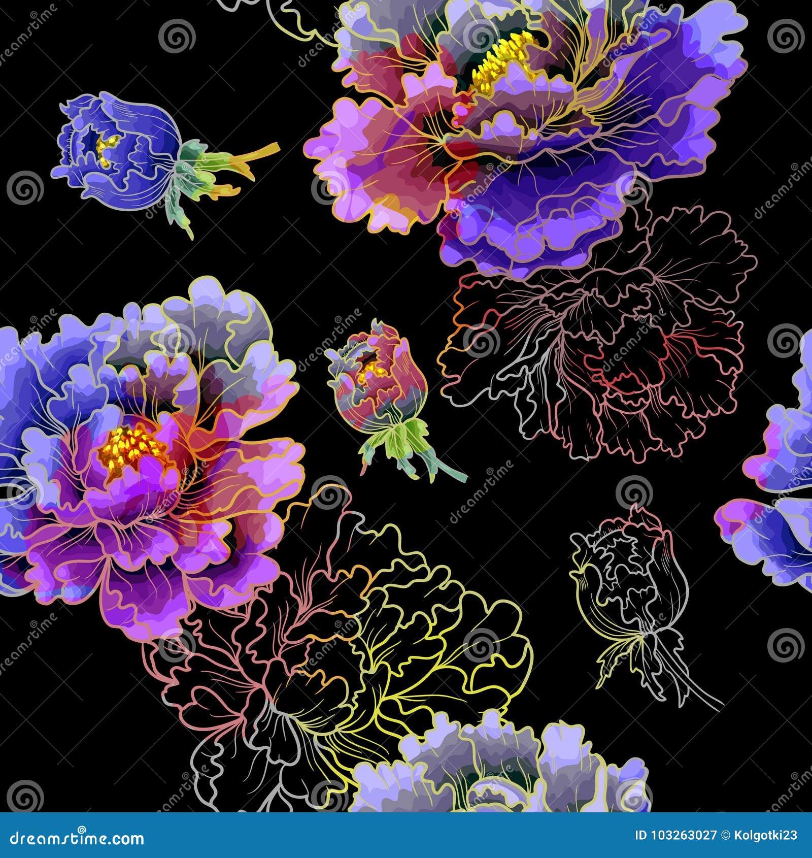 Pfingstrosenblume der japanischen Art Nahtloser Hintergrund des bunten Musters