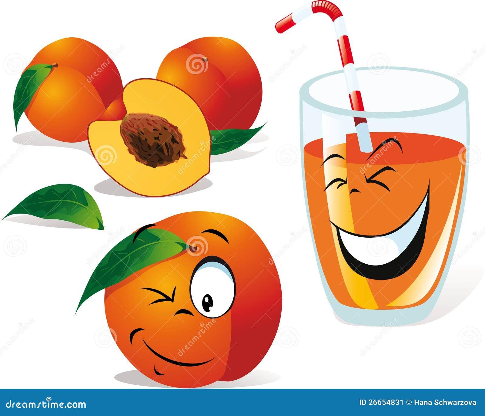 Pfirsichtee oder Saft und Pfirsiche
