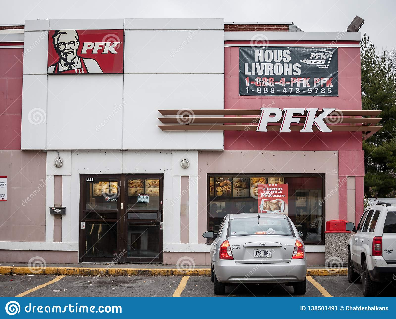 Pfk logo on a local restaurant in montreal poulet frit - Kentucky french chicken ...