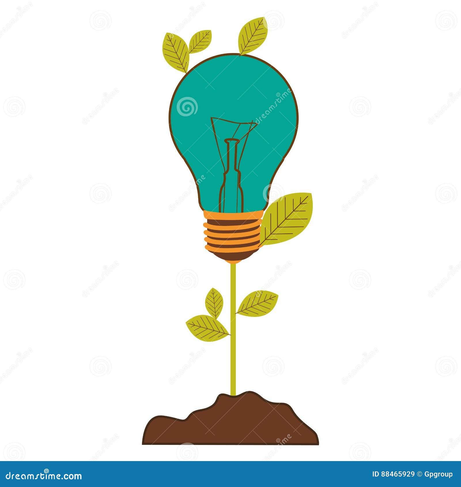 Pflanzen Sie Stamm mit Blättern und Glühbirne mit hellem Türkis