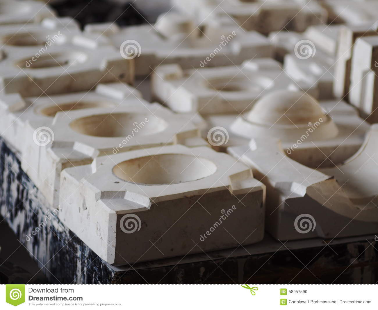 Pflaster Mould For Ceramics Production Stock Photo Image