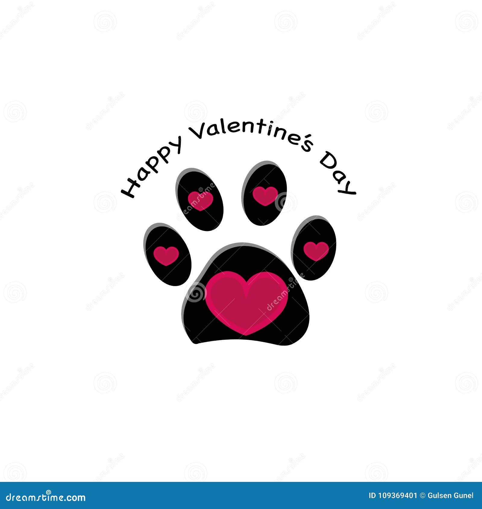 Pfotenabdruck mit Herzen und `` glücklicher Valentinsgruß ` s Tages`` Text Glückliche Valentinsgruß `s Tagesgrußkarte