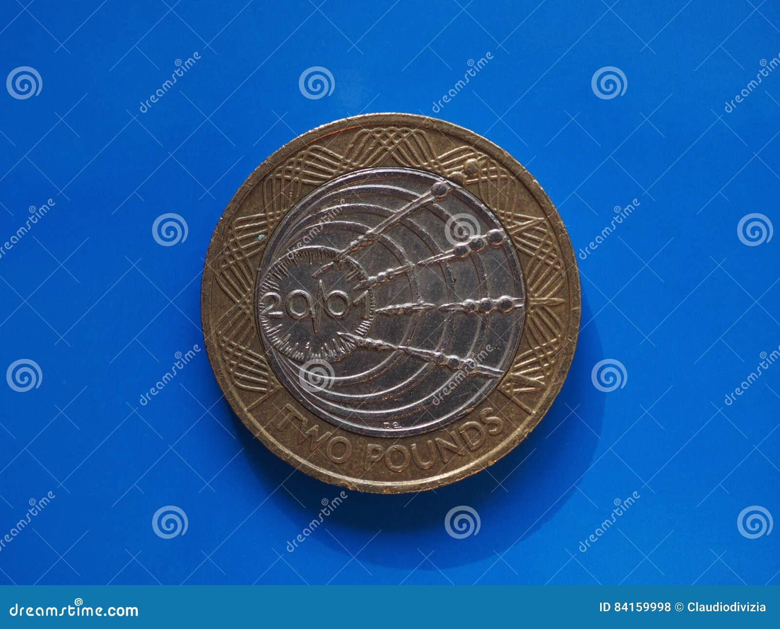 2 Pfund Der Münze Vereinigtes Königreich Stockfoto Bild Von