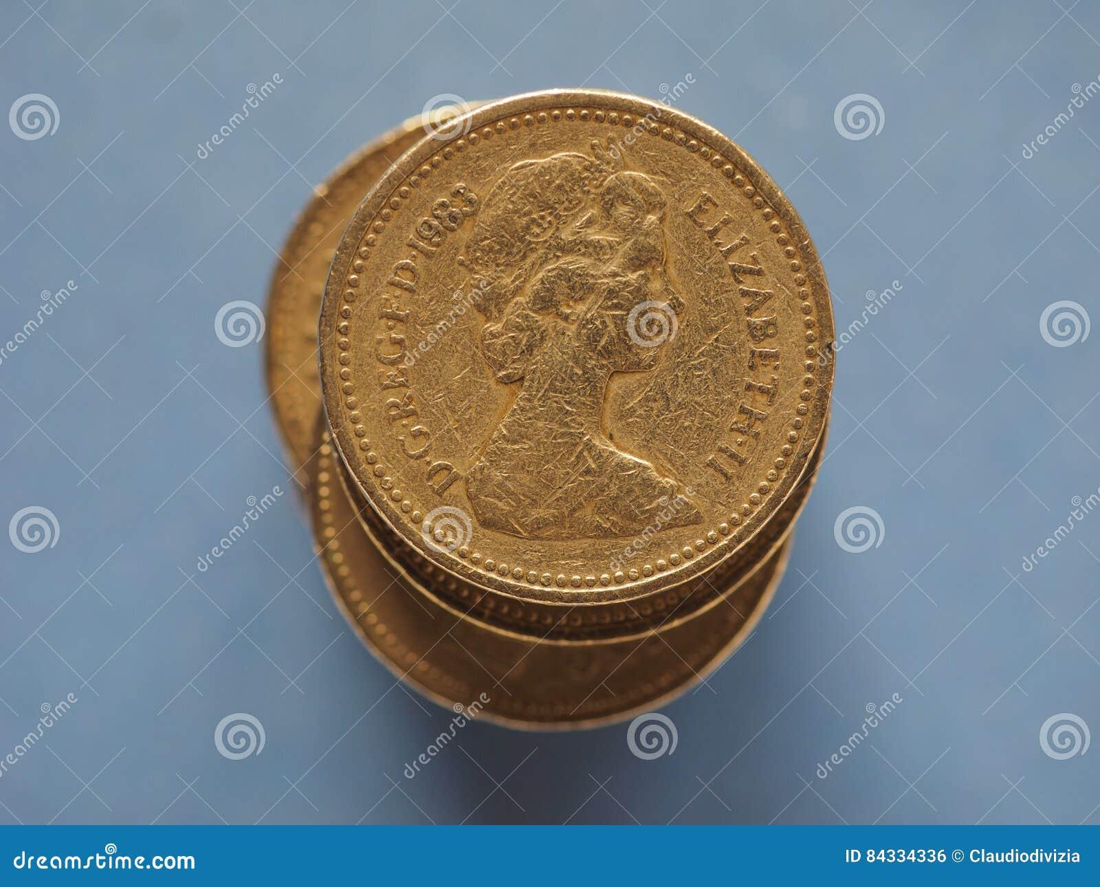 1 Pfund Münze Vereinigtes Königreich über Blau Mit Kopienraum In