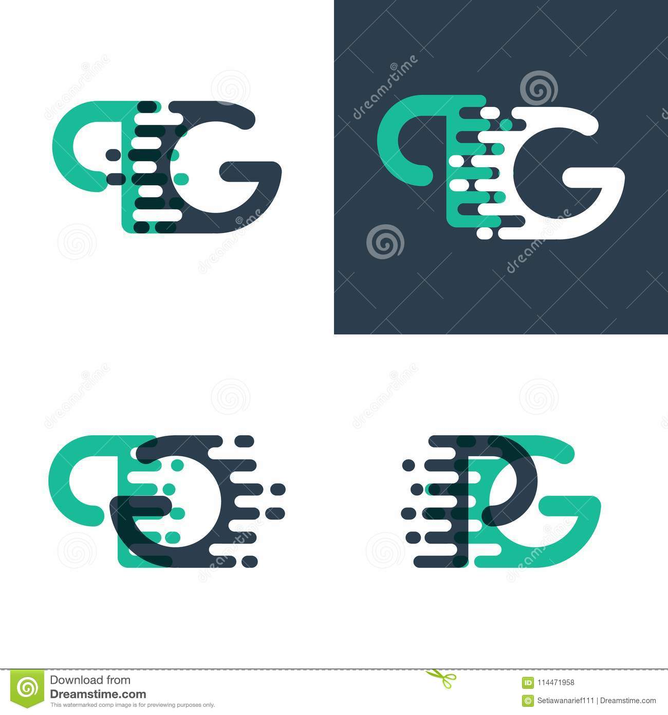 Pg Letters Logo With Accent Speed In Green And Dark Blue Stock