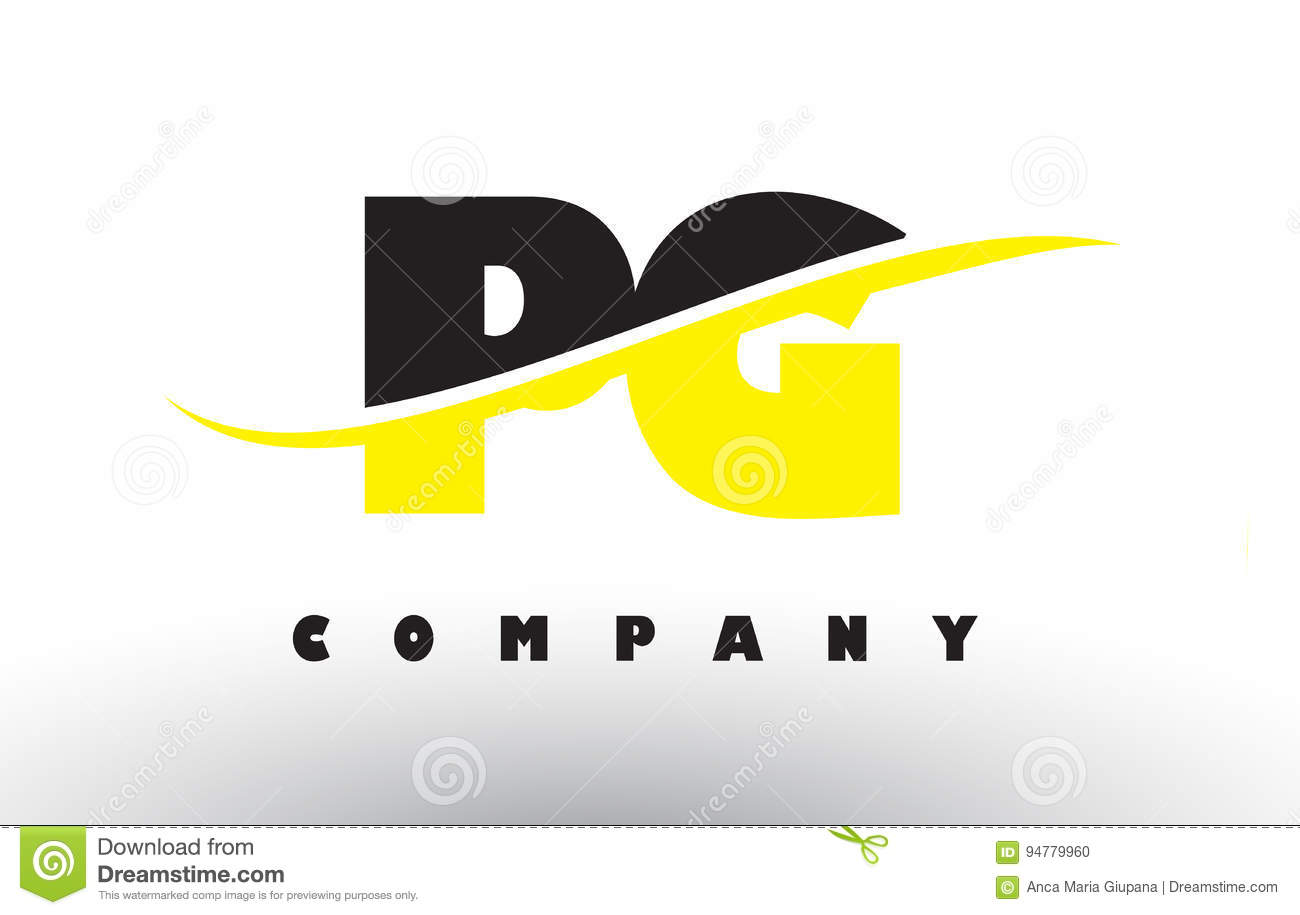 Pg P G Black And Yellow Letter Logo With Swoosh Stock Vector