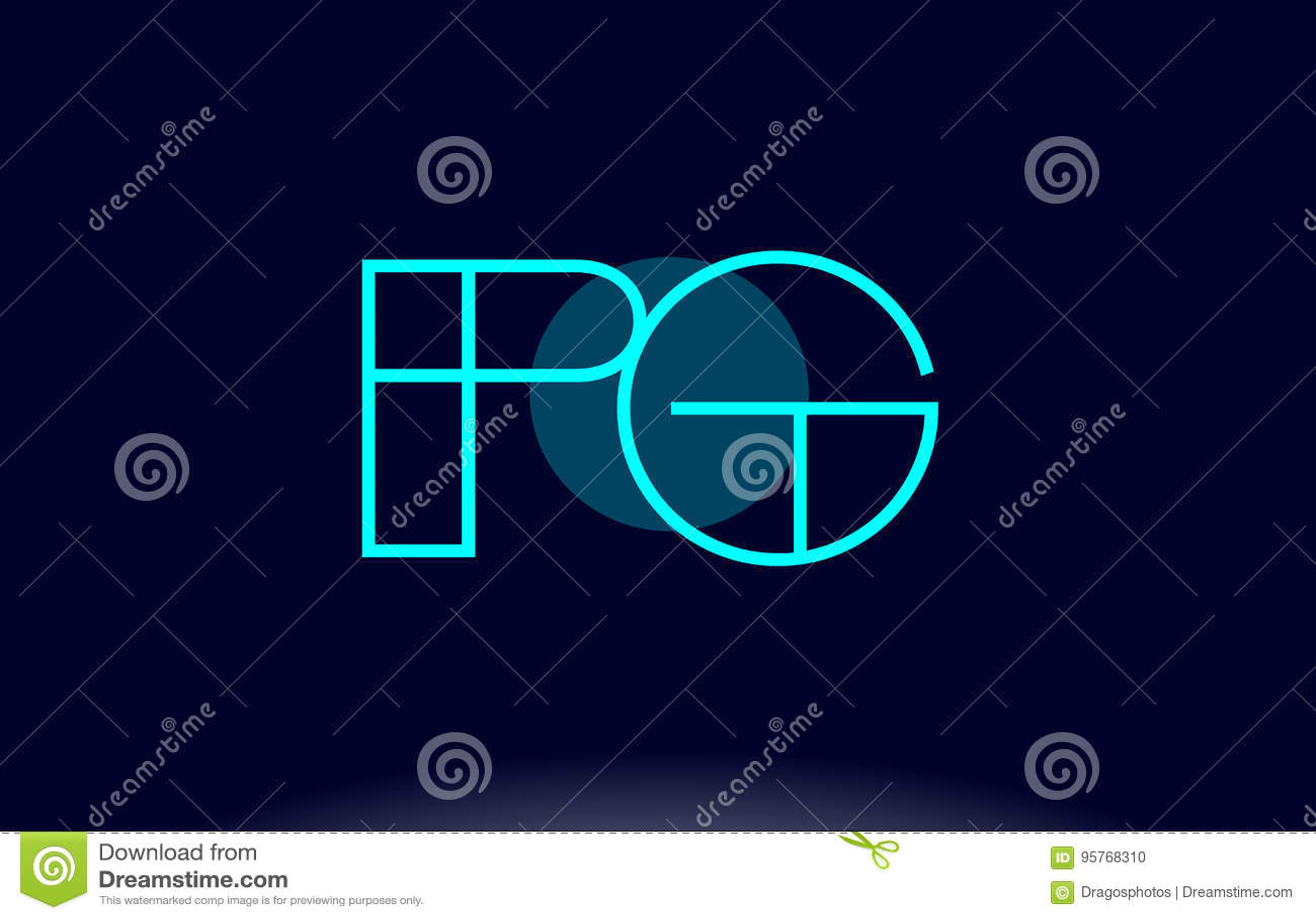 Pg P G Blue Line Circle Alphabet Letter Logo Icon Template Vecto