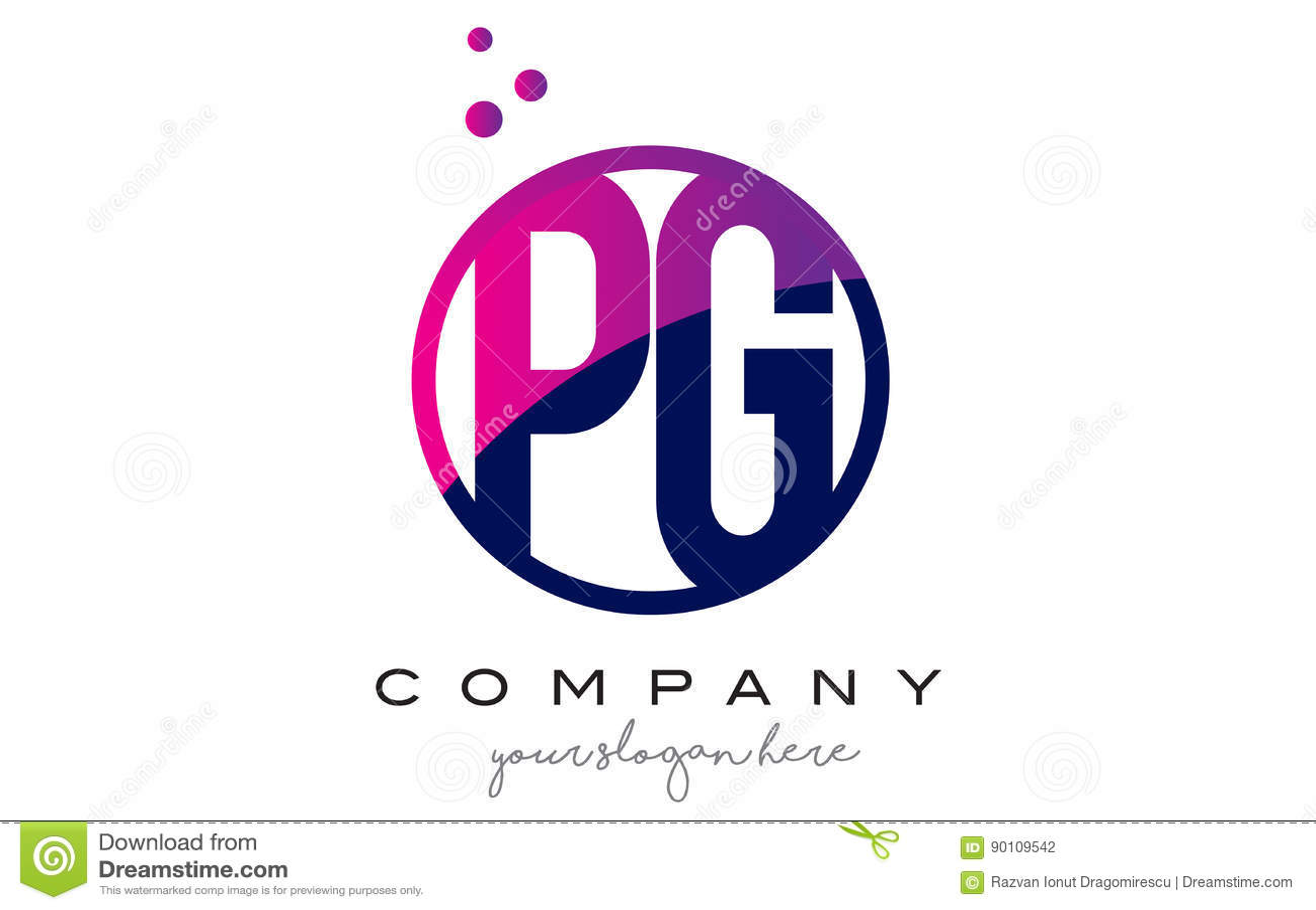 Pg P G Circle Letter Logo Design With Purple Dots Bubbles Stock