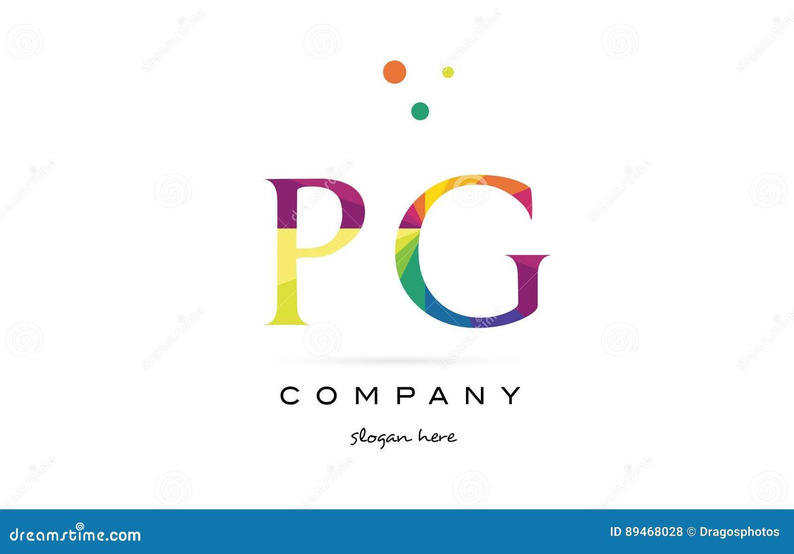Pg P G Creative Rainbow Colors Alphabet Letter Logo Icon Stock
