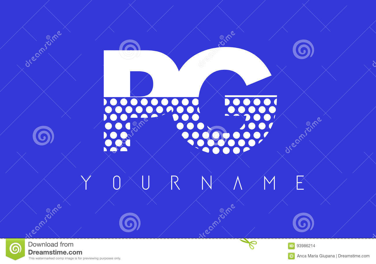 Pg P G Dotted Letter Logo Design With Blue Background Stock Vector