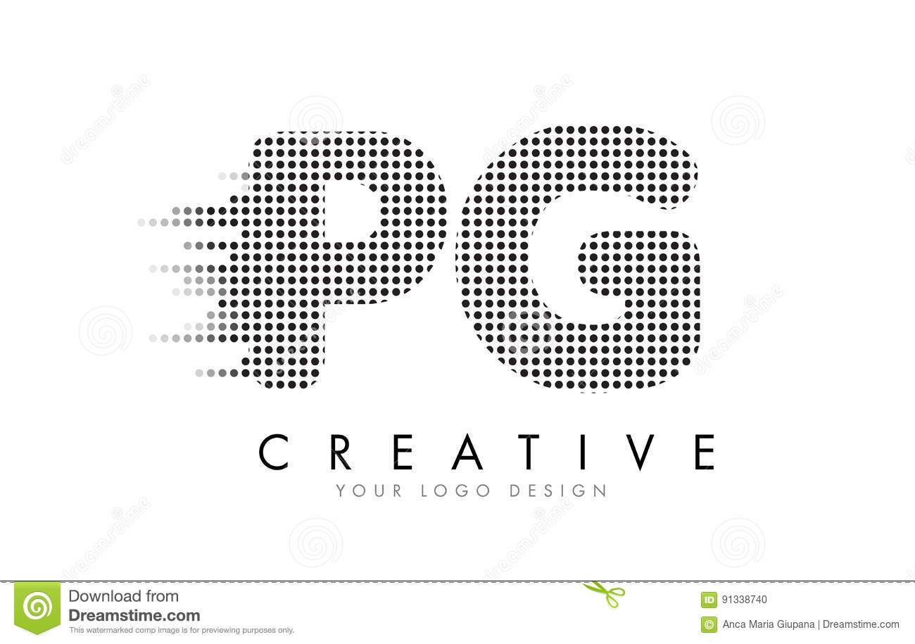 Pg P G Letter Logo With Black Dots And Trails Stock Vector