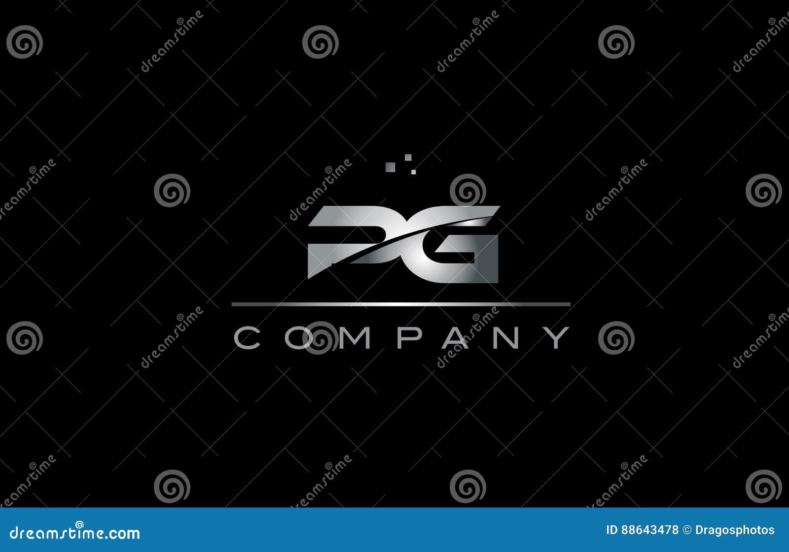 Pg P G Silver Grey Metal Metallic Alphabet Letter Logo Icon Stock