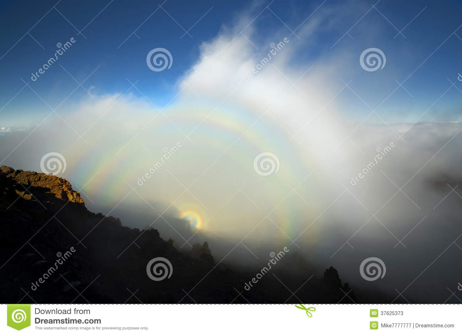 Phénomène optique, parc national de Haleakala, Maui, Hawaï