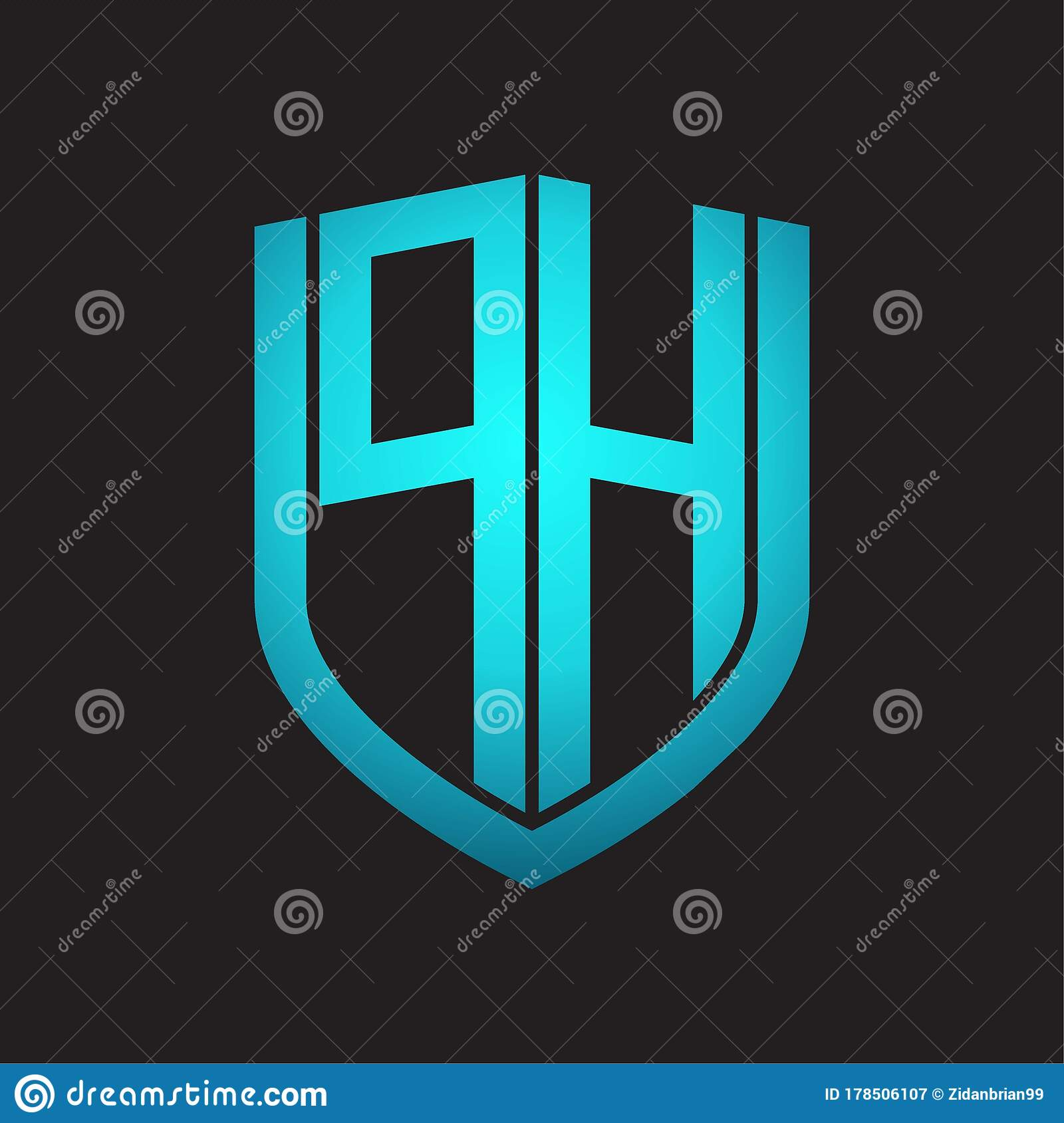 Ph Logo Monogram With Emblem Shield Design Isolated With Blue Colors On Black Background Stock Illustration Illustration Of Identity Creative 178506107