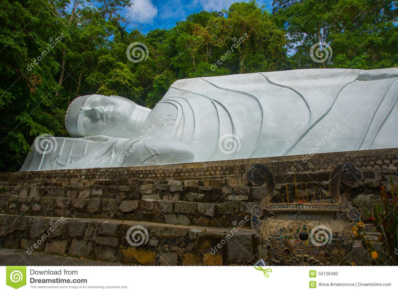 PHAN THIET, VIETNAM.The biggest statue of sleeping Buddha in Vietnam is at Linh Son Truong Tho Pagoda, March 6, 2013, near Phan Th