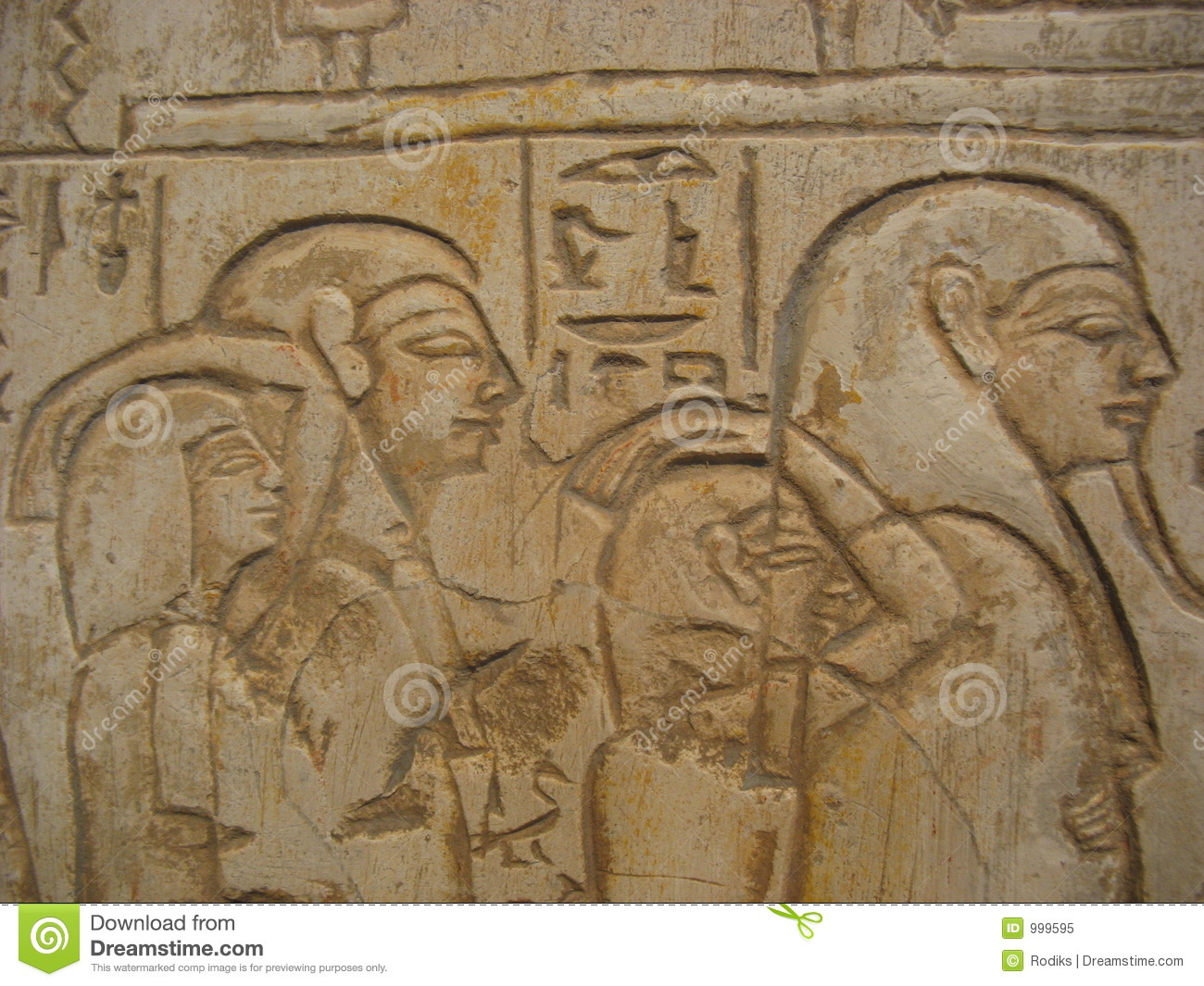pharaoh and his people on hieroglyphics stock image
