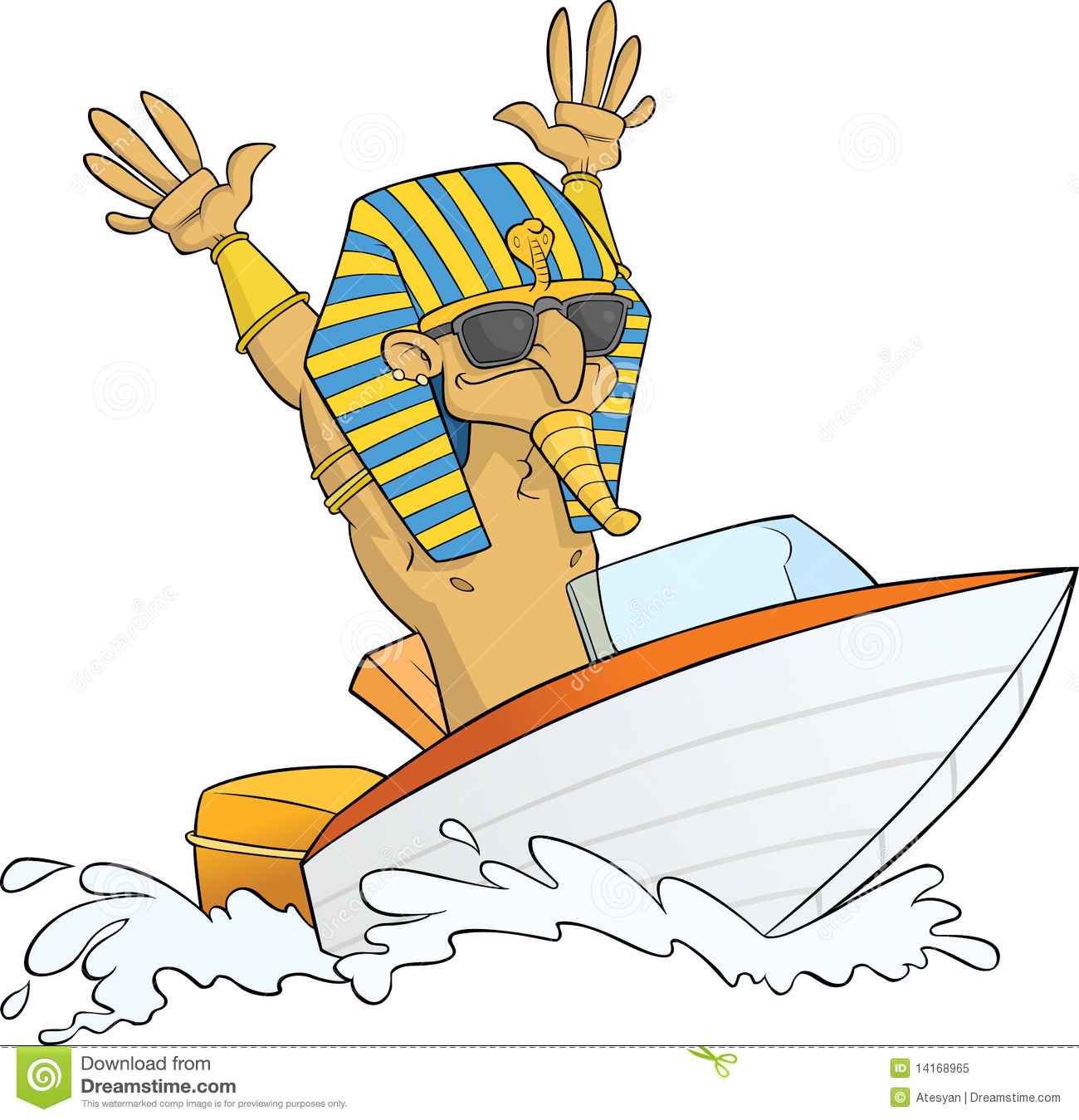 Pharaoh having fun on his speed boat. Ai8 EPS vector file available.