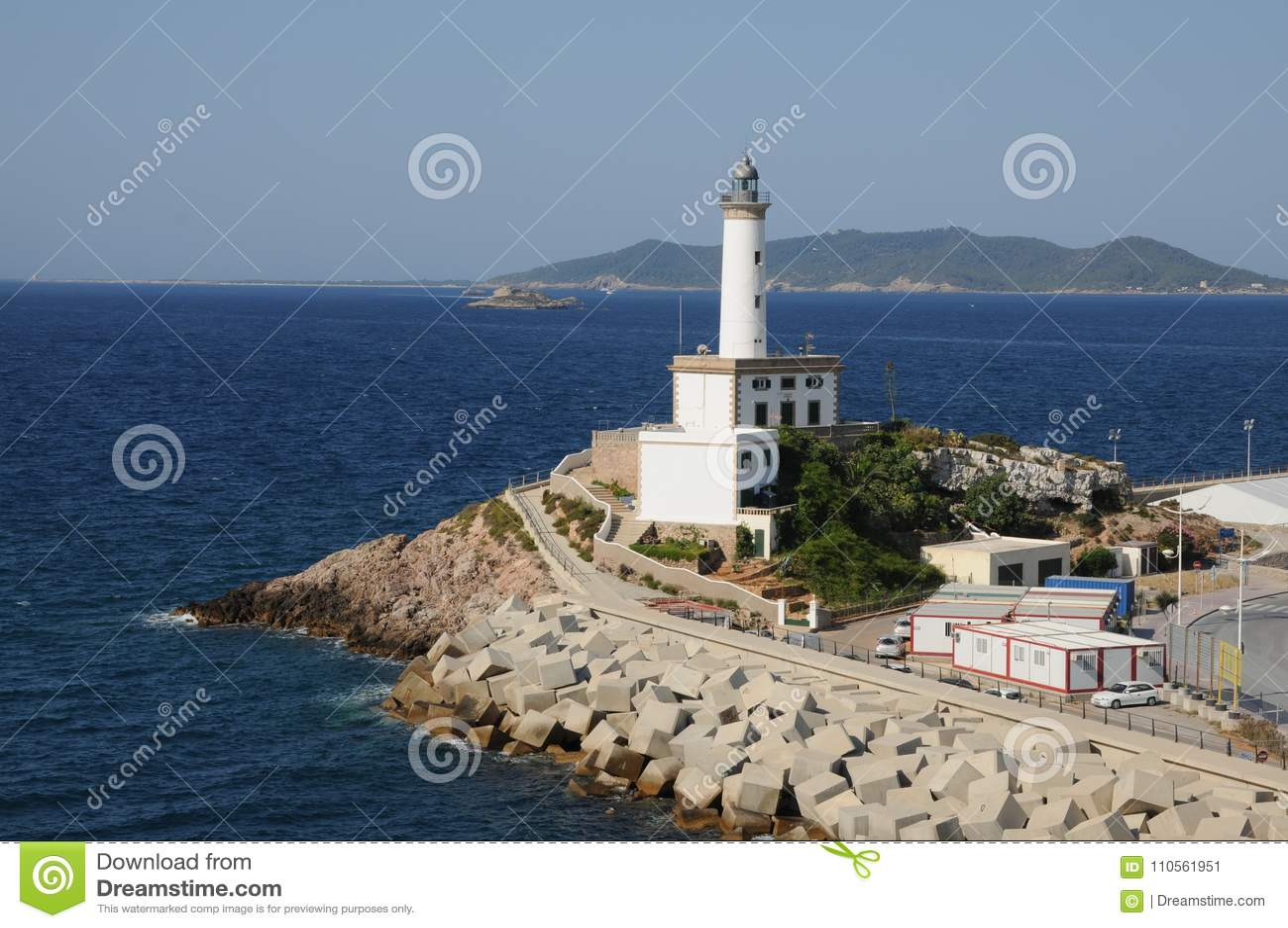 Phare blanc es Botafoc dans Ibiza Îles Baléares Soain