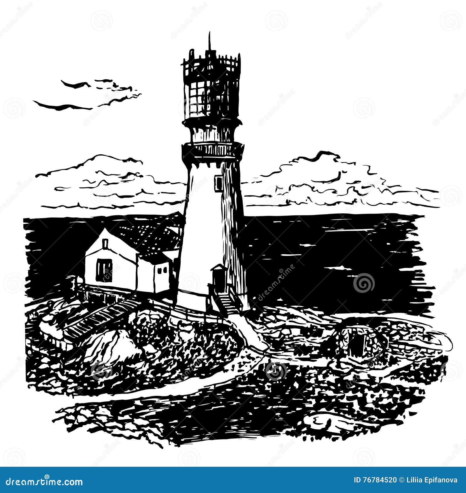 Phare de dessin avec une illustration la maison deux - Dessin de phare ...