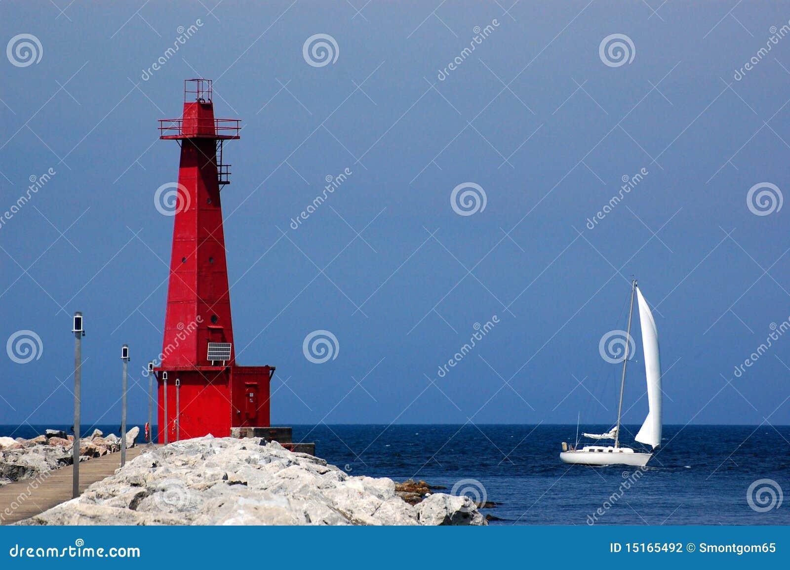 Phare et bateau à voiles, Muskegon, MI