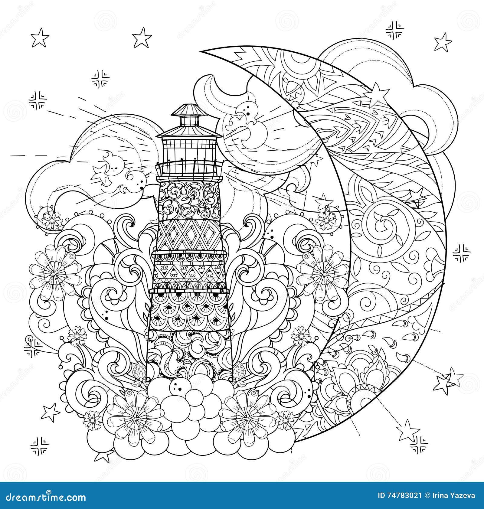 Phare Mignon Sur La Demi Lune De Noel Illustration De Vecteur