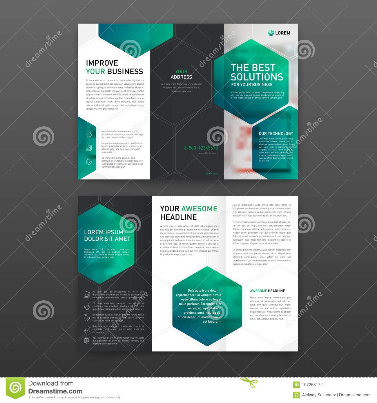 pharmaceutical brochure tri fold template layout with icons stock