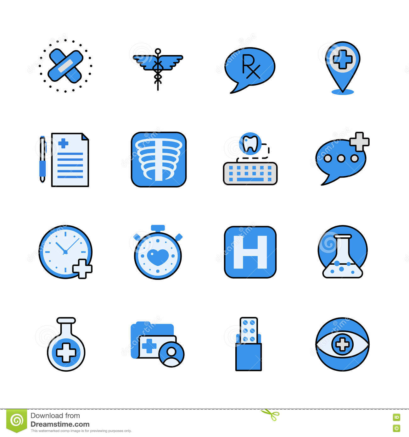 Line Art App : Pharmaceutical industry lineart flat vector icon set