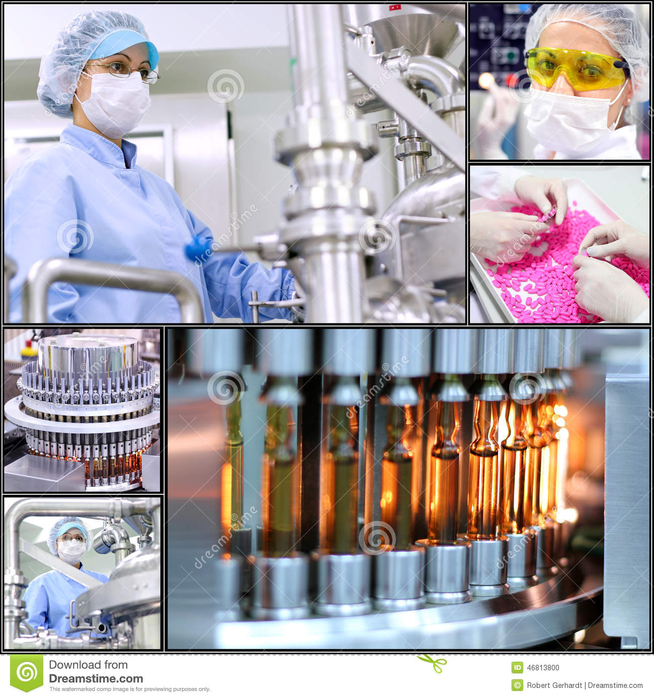 Pharmaceutical Manufacturing Technology Collage Stock Photo Image 46813800