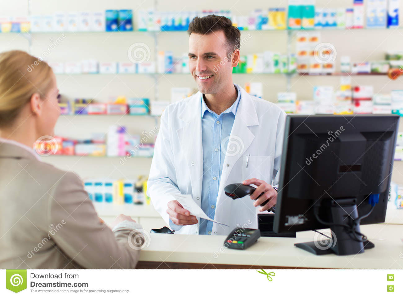 pharmacist and client at pharmacy stock photo image  pharmacist and client at pharmacy