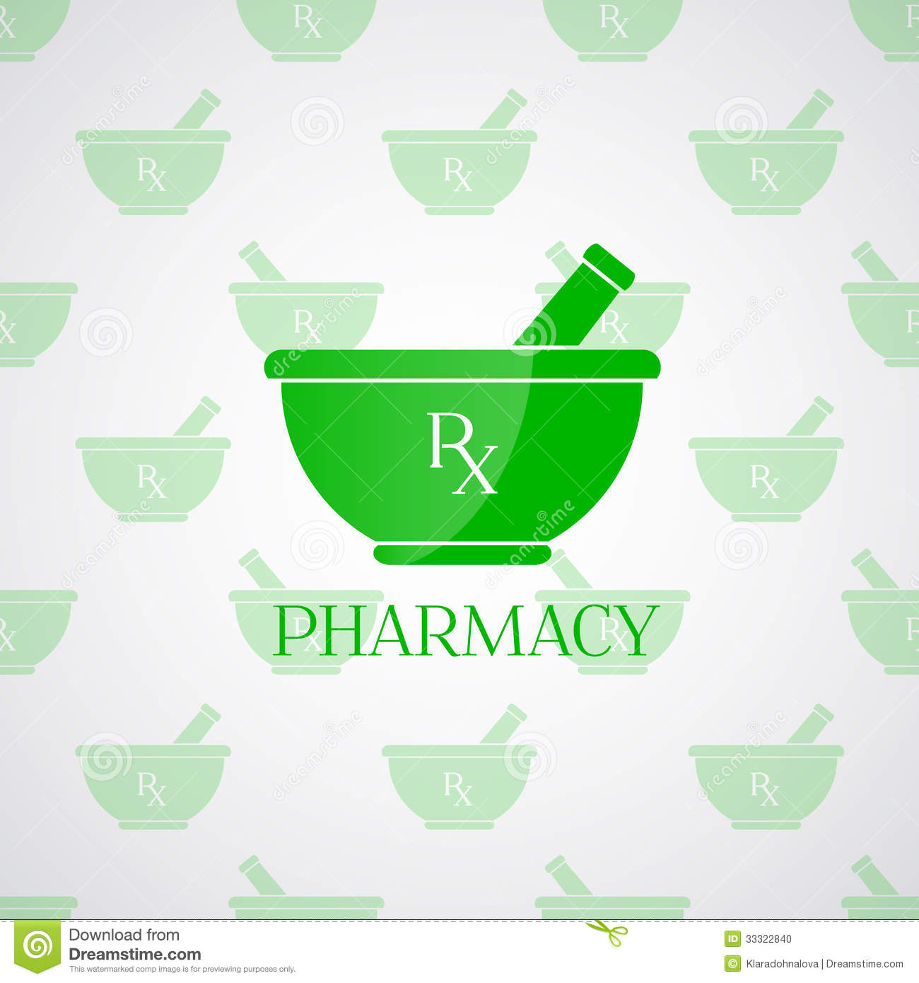 Pharmacy Background - Mortar In Green Color Stock Vector ...