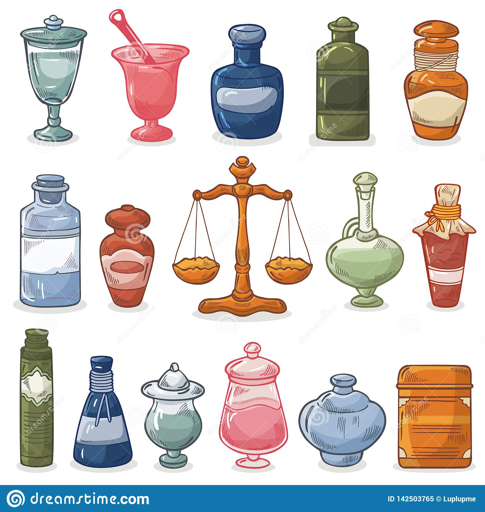 6ca0310b2626 Pharmacy bottles vector vintage medical drug glass chemical liquid medicine  and scales illustration pharmaceutical