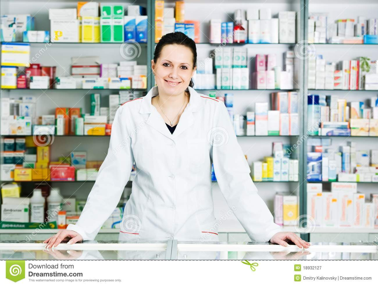 Pharmacy Chemist Woman In Drugstore Royalty Free Stock Photography ...