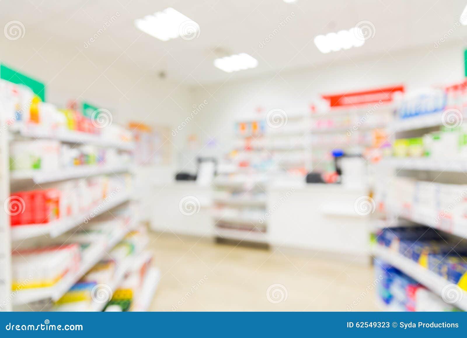 Pharmacy Or Drugstore Room Background Stock Photo - Image