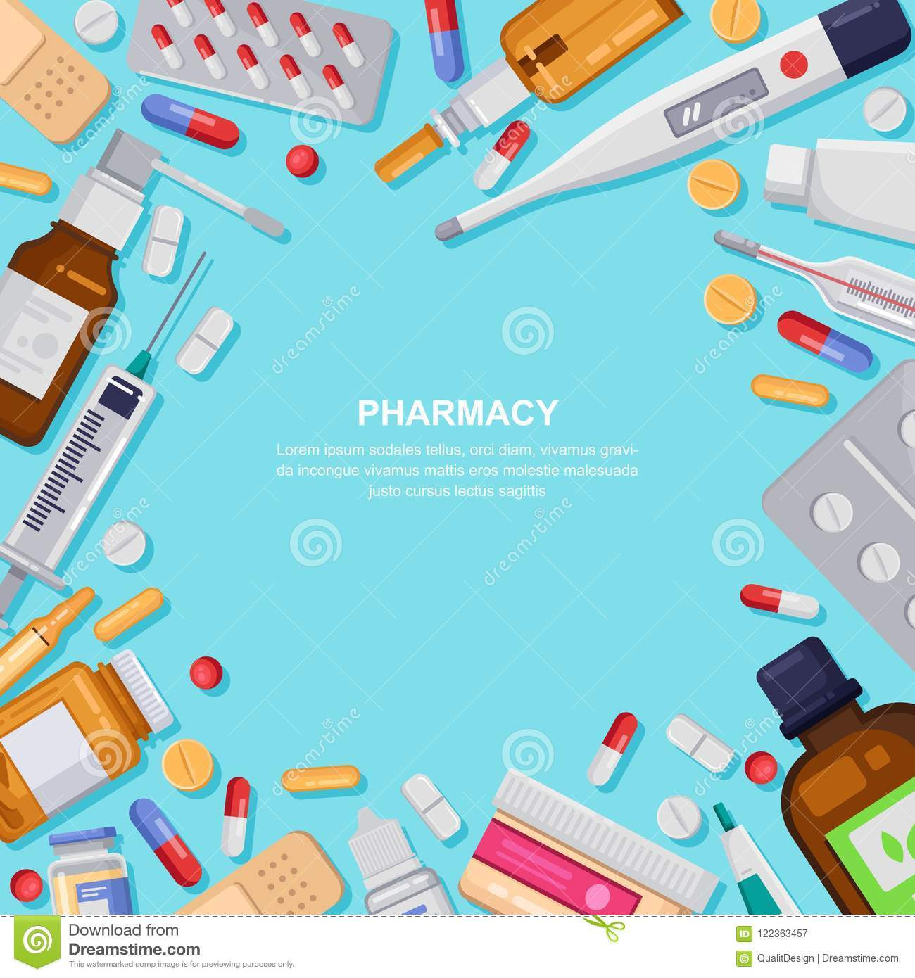 Pharmacy Frame With Pills Drugs Bottles Drugstore Illustration Medicine Healthcare Banner Poster Background Stock Vector Illustration Of Flat Cartoon 122363457