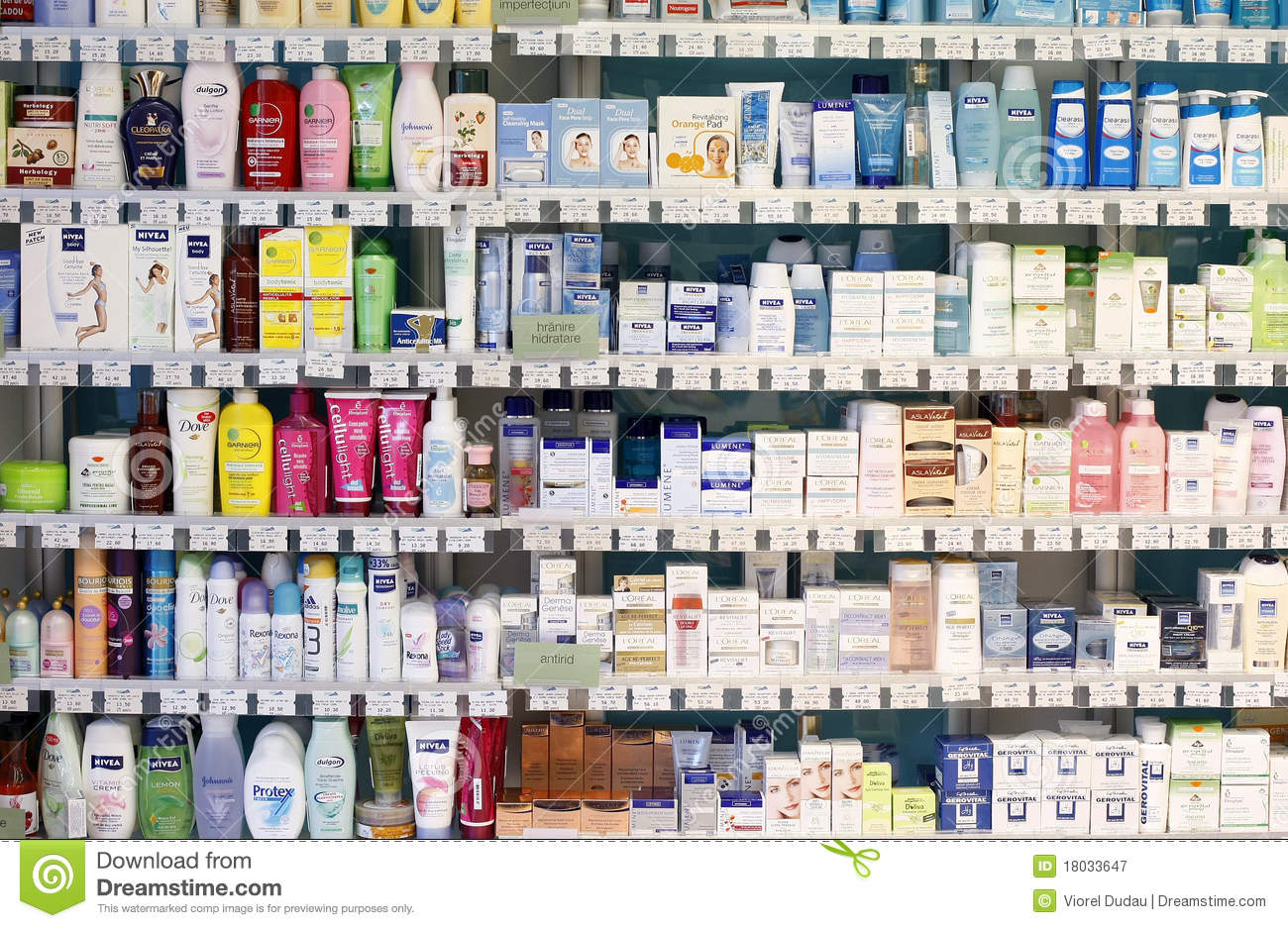 Pharmacy Shop Interior Cosmetic Products Editorial