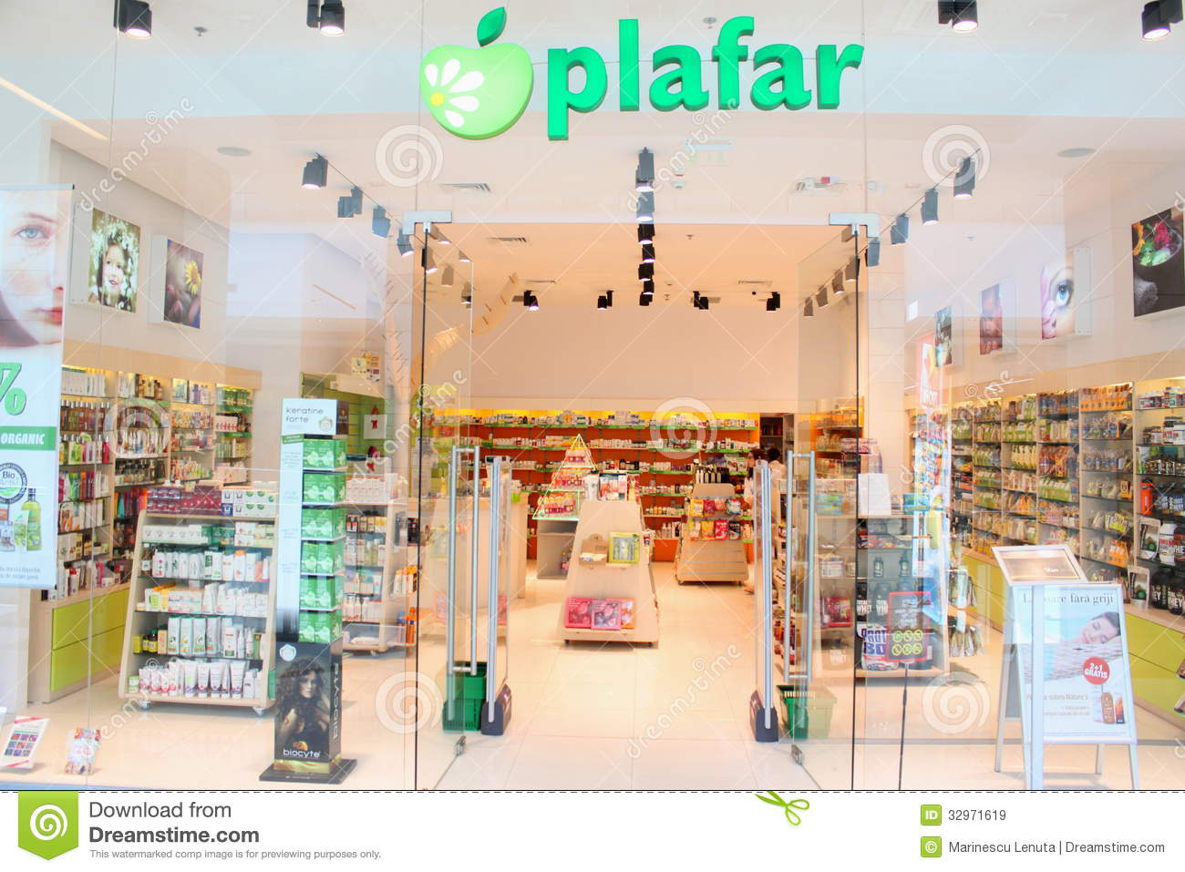 Pharmacy shop plafar in romania shelves with bio and natural