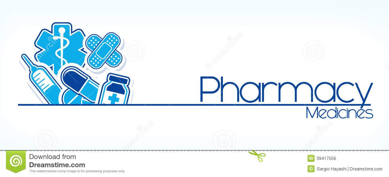 Illustration of pharmacy sign design on white background.