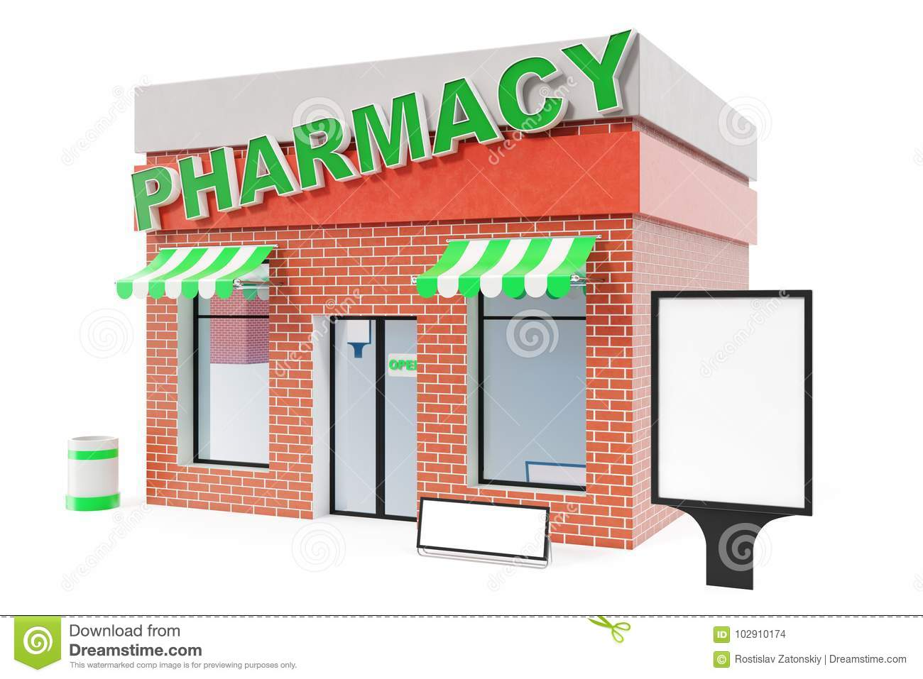 Pharmacy Store With Copy Space Board Isolated On White