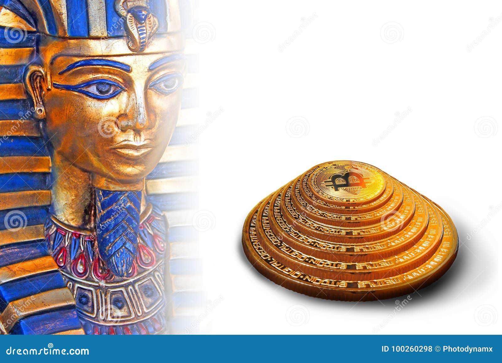 Pharoah de la pirámide del bitcoin de Egipto