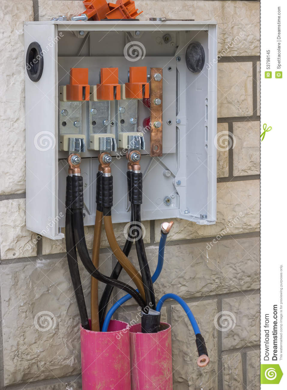 3 Phase High Voltage Breaker Box Stock Image Image Of