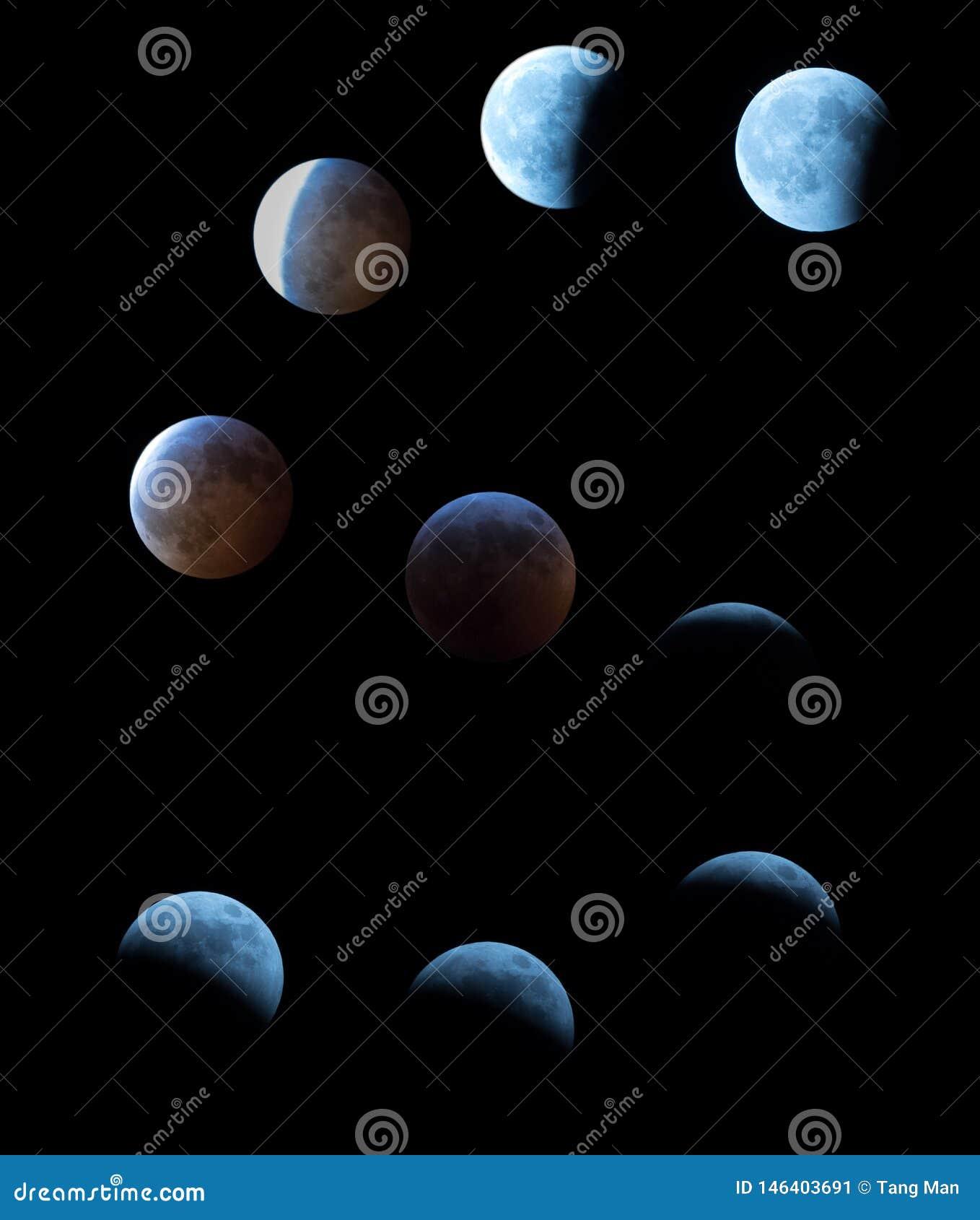 Phases du sang superbe Wolf Moon avec toute l éclipse lunaire au centre