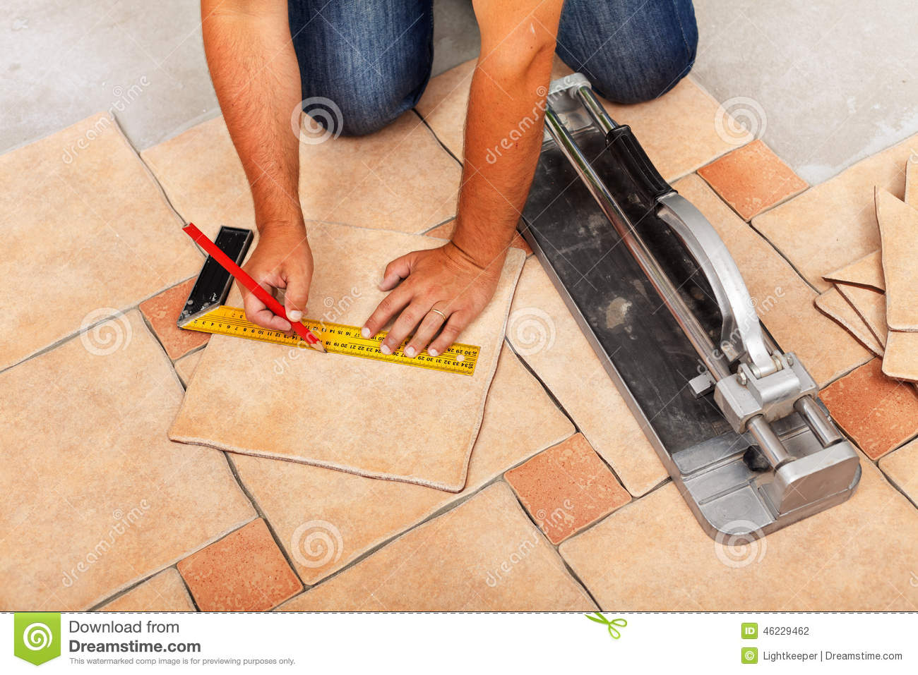 Phases Of Installing Ceramic Floor Tiles Cutting The Pieces Stock