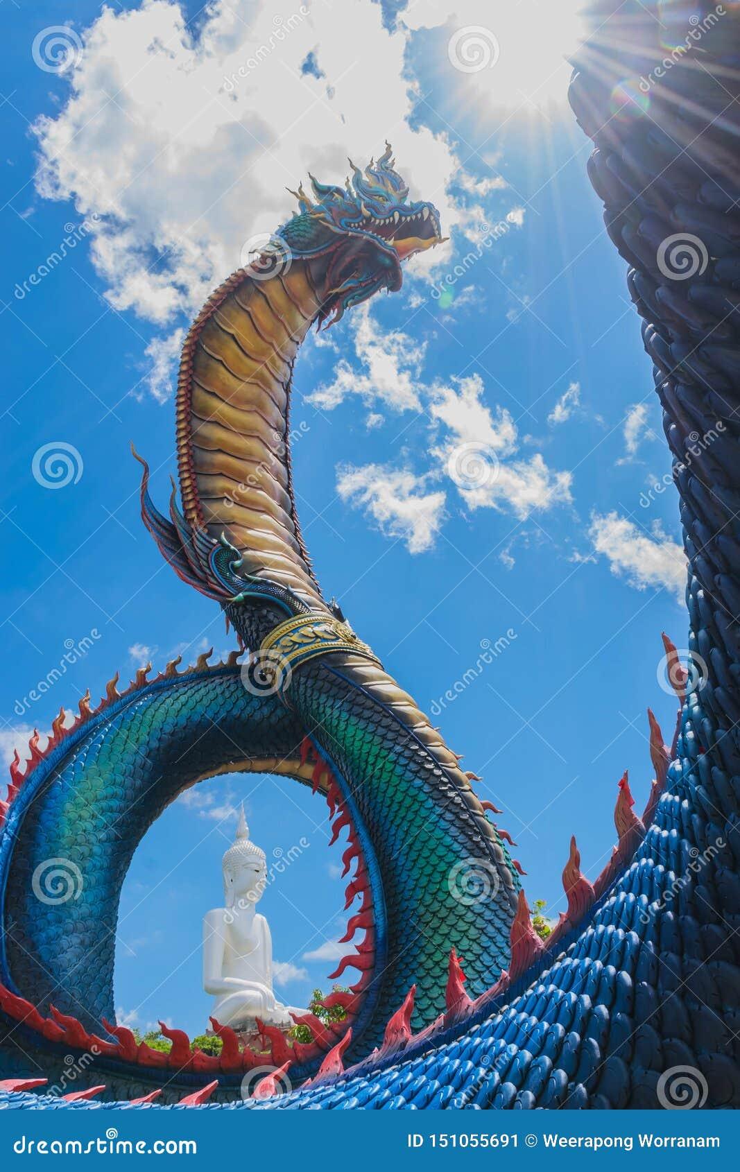 Phaya纳卡语,蛇龙的大具体标志有大菩萨背景,在Wat Phumanorom的公共资产,
