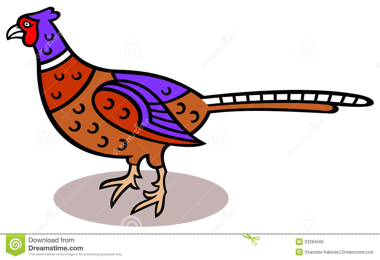 Cartoon illustration of a pheasant.