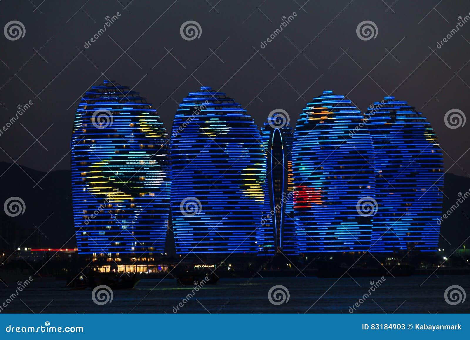 Pheonix Island Sanya, illuminated buildings. Unique modern design