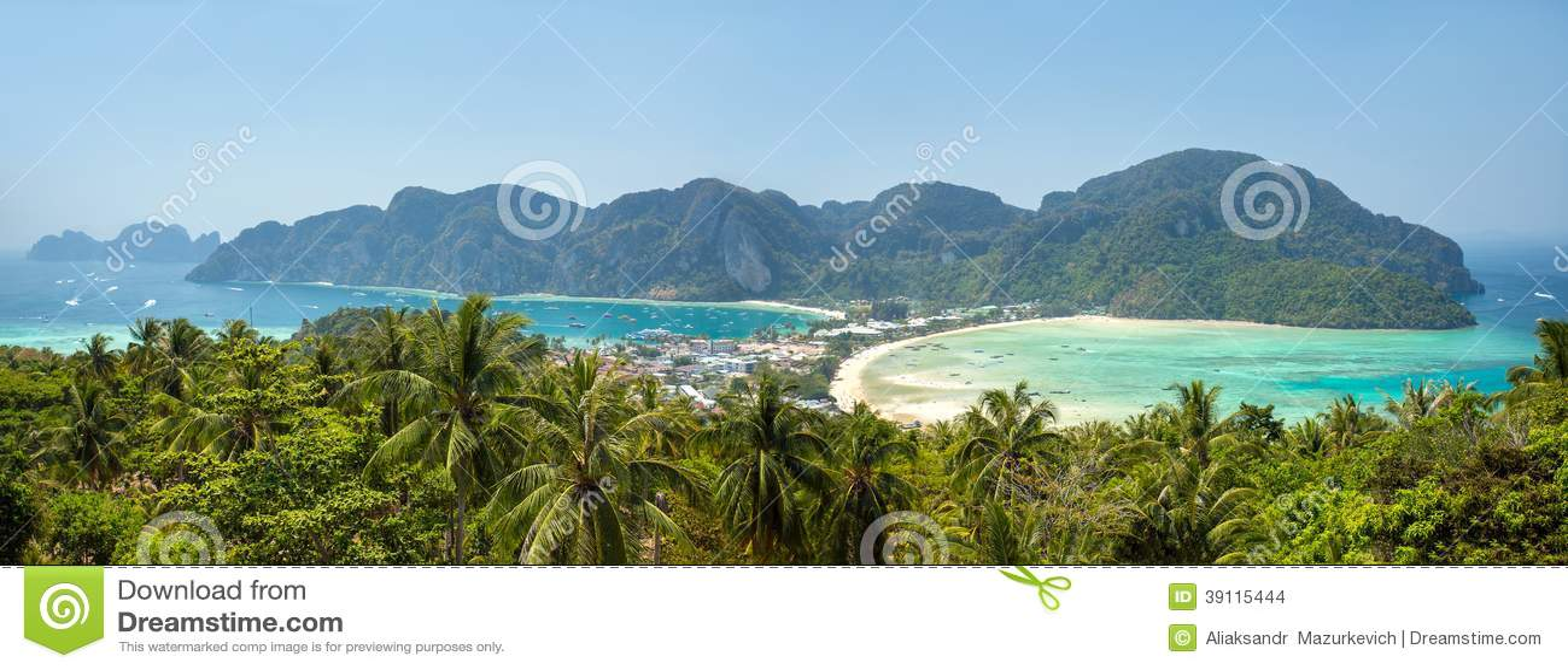 Phi-Phi eiland, Krabi-Provincie, Thailand. Panorama