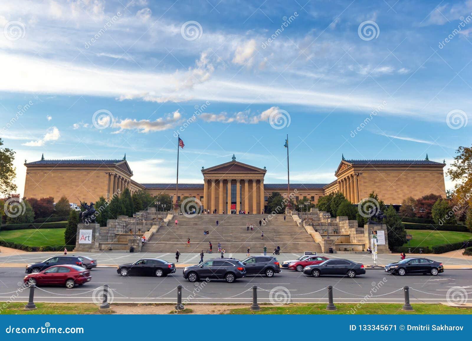 Philadelphia Art Museum en beroemde Rotsachtige stappen