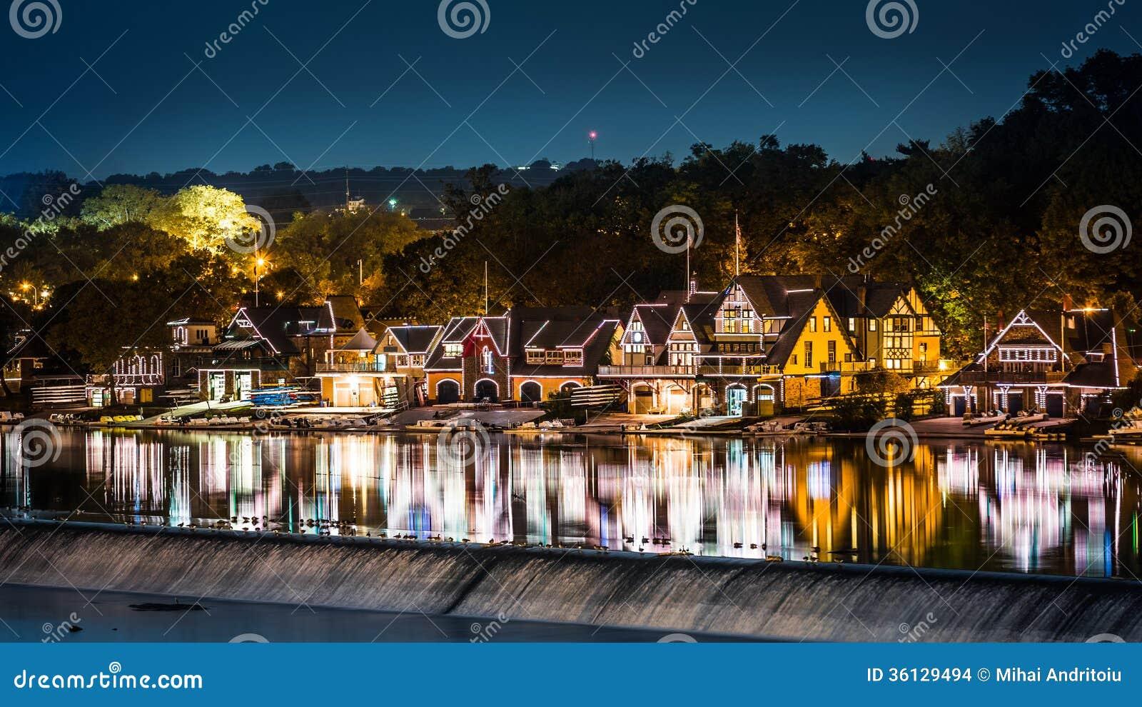 Philadelphia Boathouse Row By Night Stock Photo - Image of lights ...